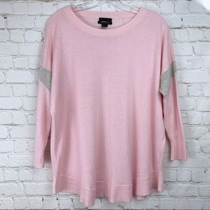 J. Crew Collection Cashmere Pink Gray Sweater